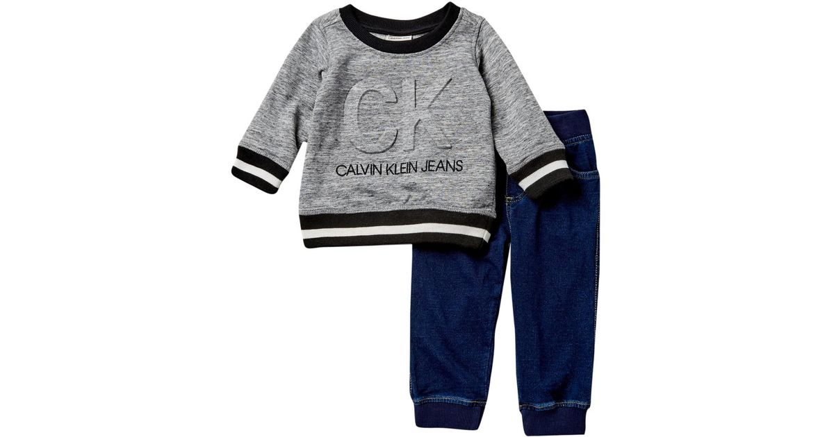 ddbe2b6ffd3 Calvin Klein French Terry Sweatshirt & Joggers Set (baby Boys) in Blue for  Men - Lyst