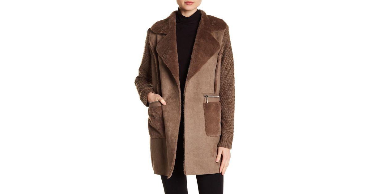 Lyst - Love Token Faux Fur   Woven Knit Coat in Brown e23c8d92f87