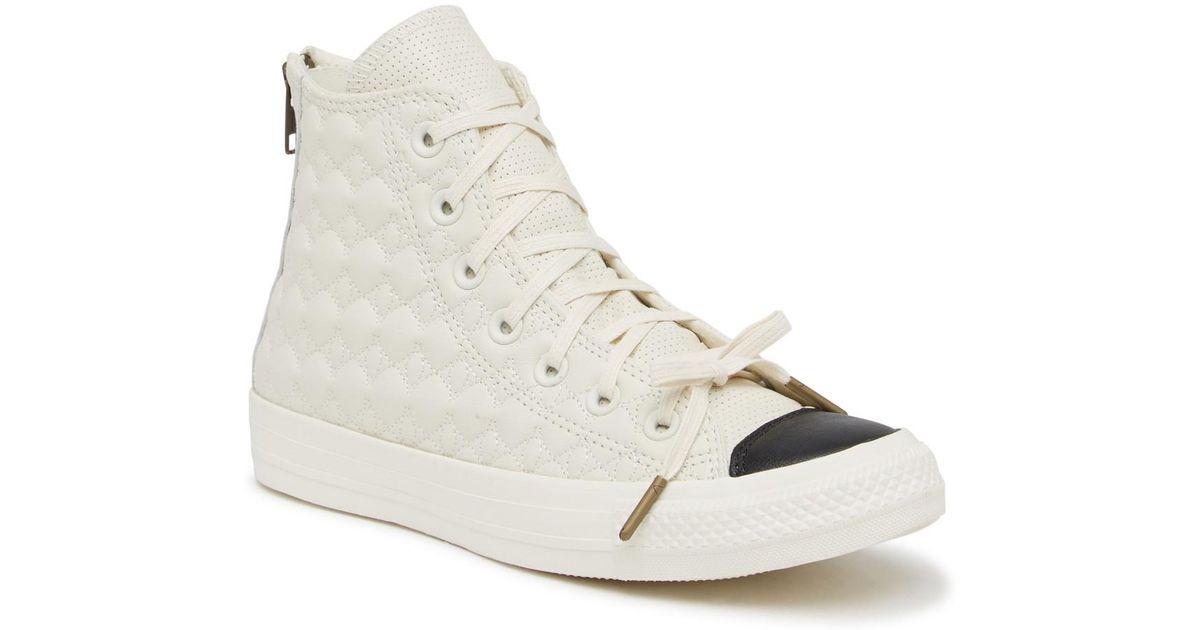 c81fd52fd862 Converse Chuck Taylor All Star Zip Back Leather Sneaker (women) in White -  Lyst