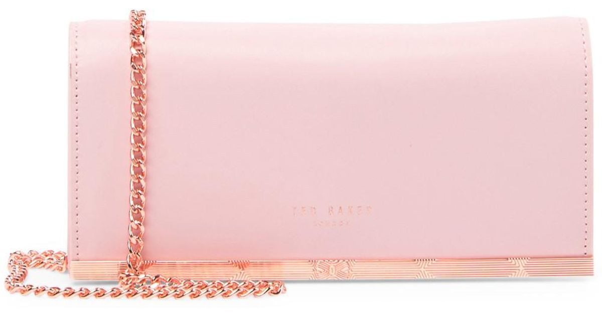 fd73580545 Ted Baker Natalie Metal Bar Leather Matinee Wallet-on-a-chain in Pink - Lyst