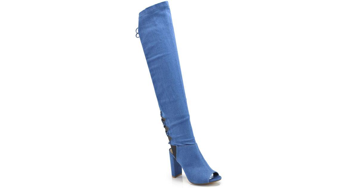 Elegant Footwear Gala Open Toe Over-the-Knee Denim Boot uIVuke0DS
