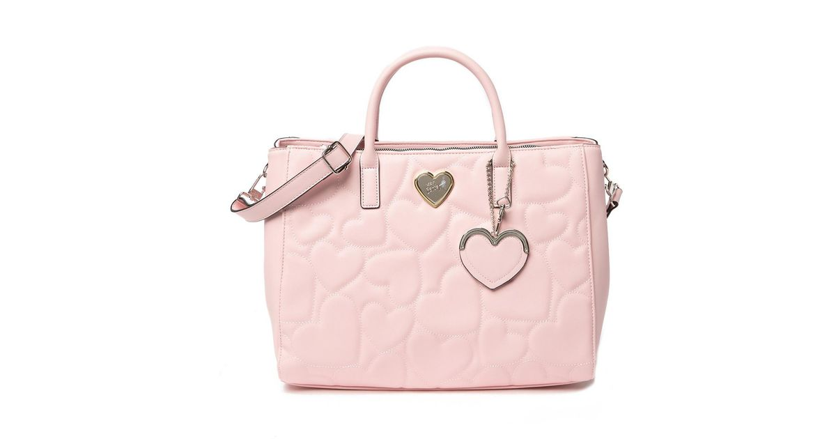 3ccc8da166 Lyst - Betsey Johnson Diamond Quilted Structured Satchel in Pink