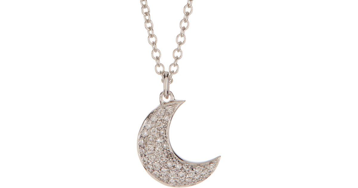 Lyst bony levy 18k white gold pave diamond moon pendant necklace lyst bony levy 18k white gold pave diamond moon pendant necklace 010 ctw in metallic aloadofball Image collections