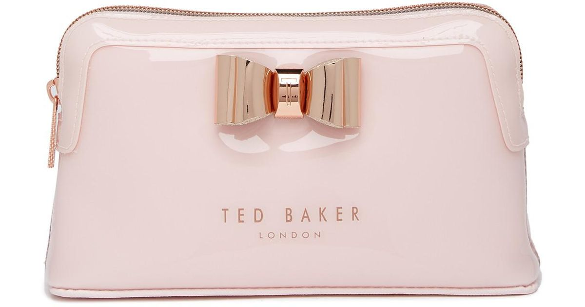 cb5fd2f66 Lyst - Ted Baker Melynda Metallic Bow Make-up Bag in Pink