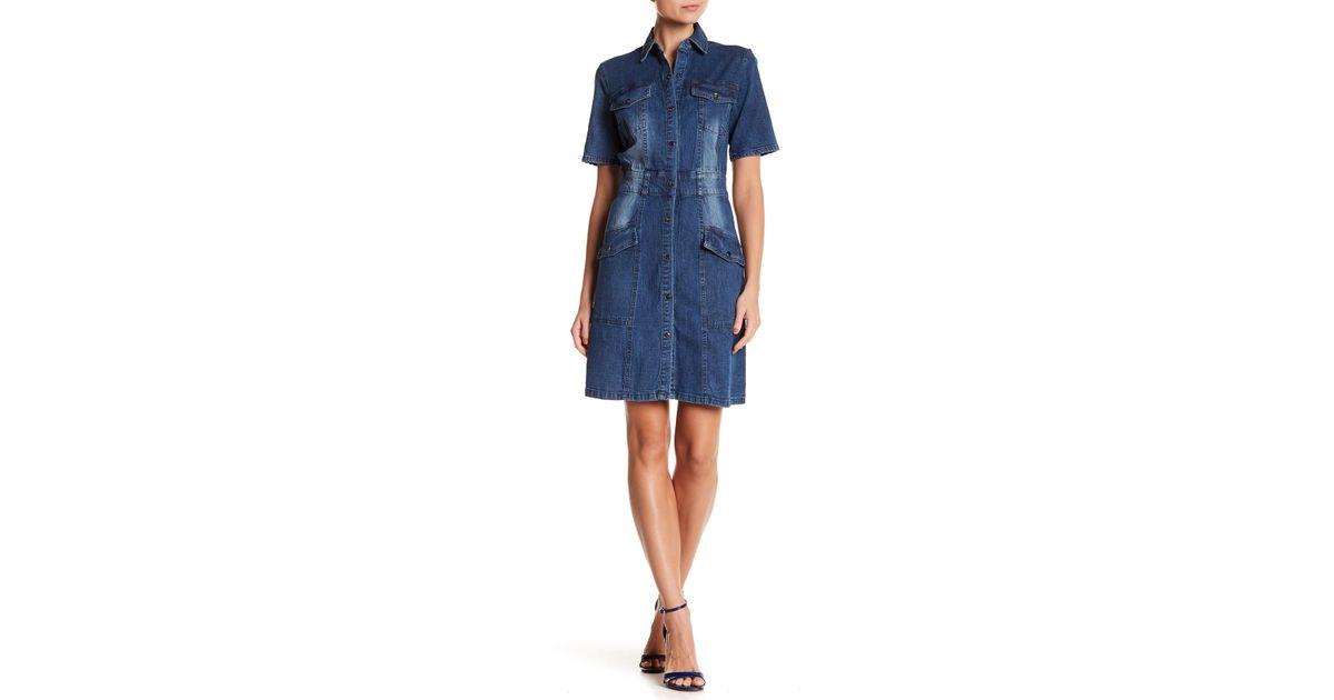 b0735a25 Lyst - Sharagano Denim Shirt Dress in Blue