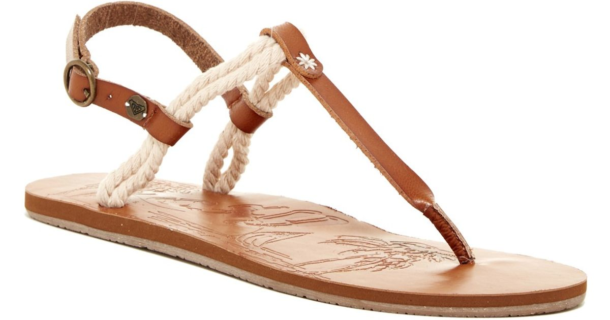 ceacd2dff31 Lyst - Roxy Theia Rope Thong Sandal in Brown