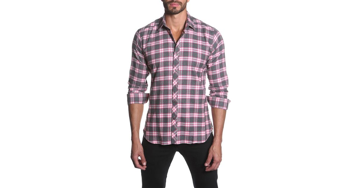 Jared Lang Plaid Long Sleeve Semi Fitted Shirt In Pink For