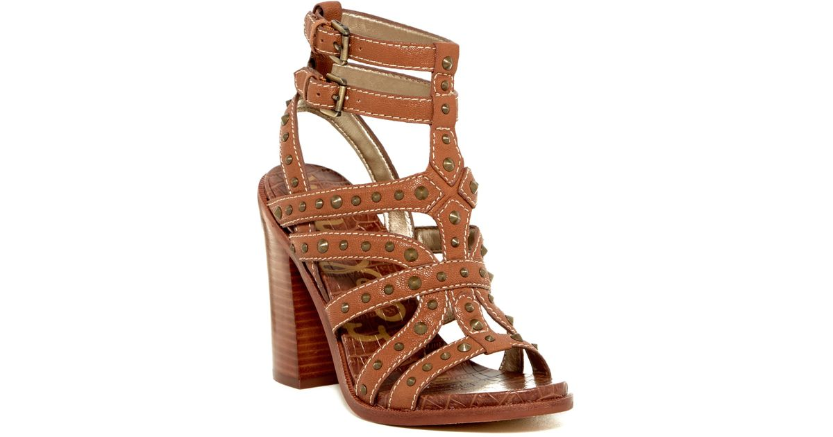 1afc80dd39769 Lyst - Sam Edelman Keith Croc Embossed Footbed Studded Sandal in Brown