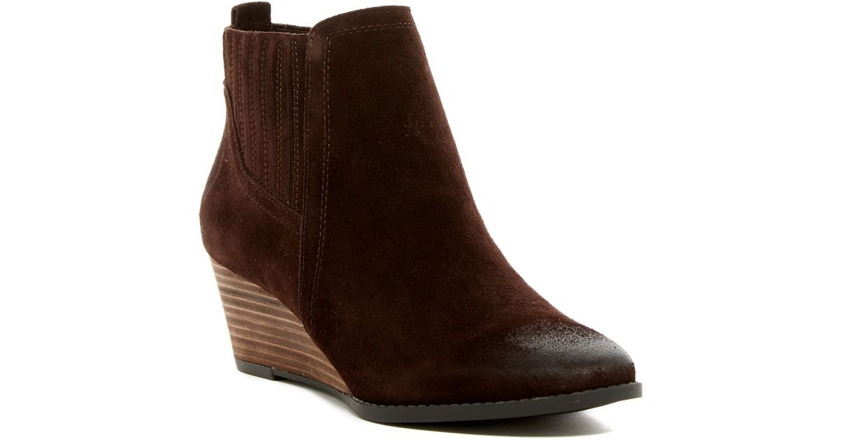 a46dbe523b0a Lyst - Franco Sarto Wayra Wedge Bootie - Wide Width Available in Brown