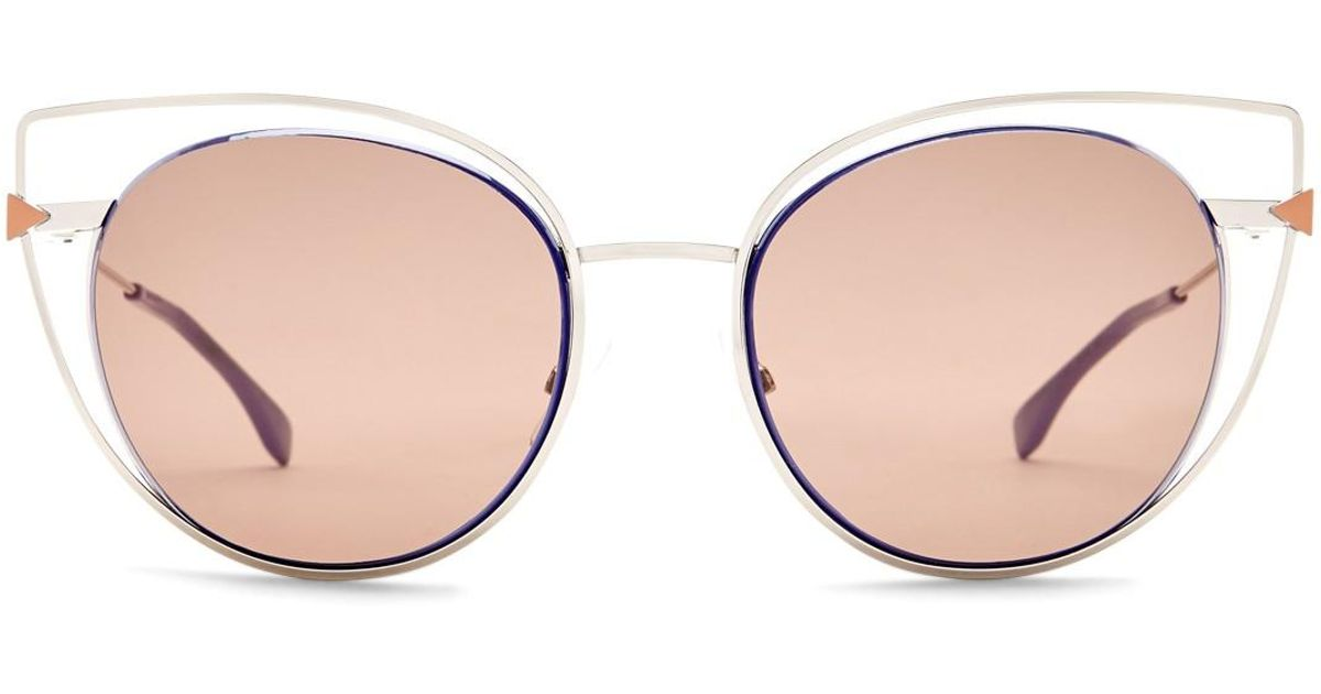 3a8bda6b2162 Fendi 53mm Cutout Cat Eye Sunglasses - Lyst