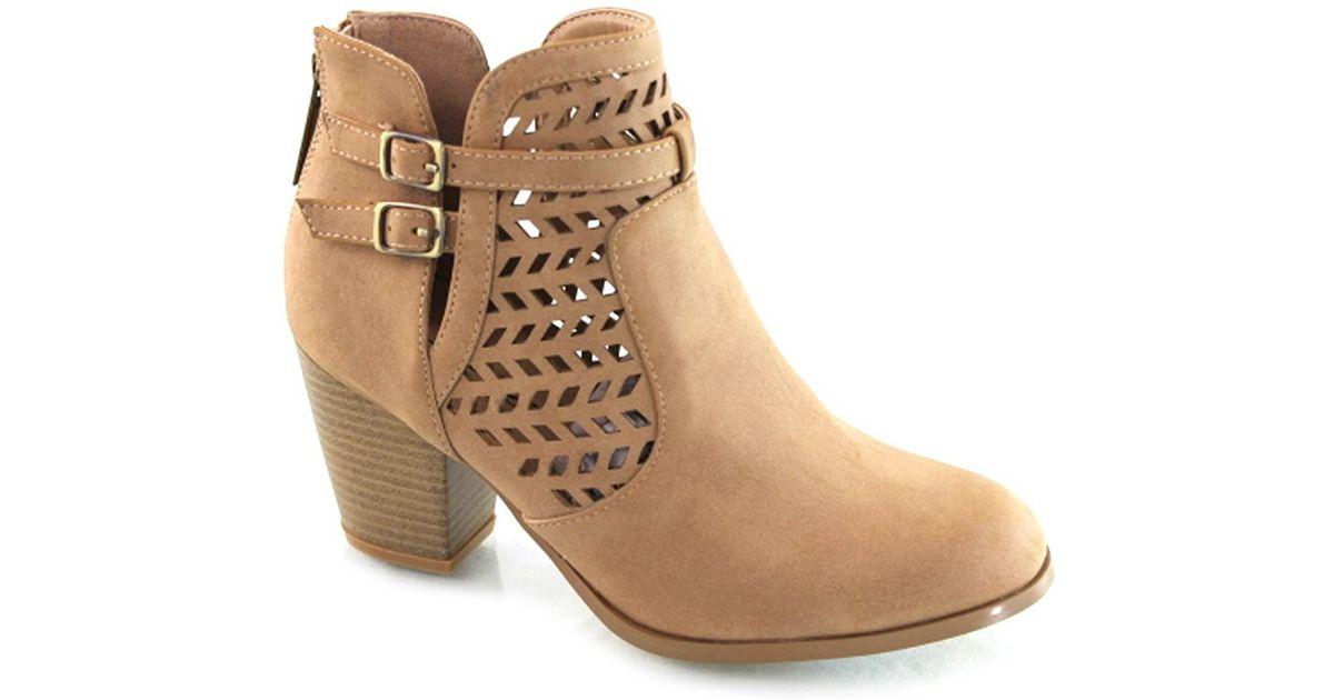 df7f7a80fee Lyst - Elegant Footwear Kaela Nubuck Laser-cut Round Toe Block Heel Bootie  in Brown