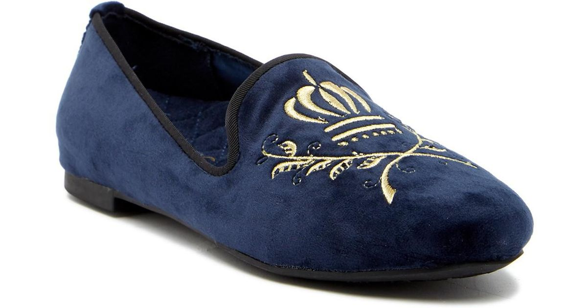 f4a35795491 Lyst - Vionic Romi Embroidered Suede Loafer in Blue