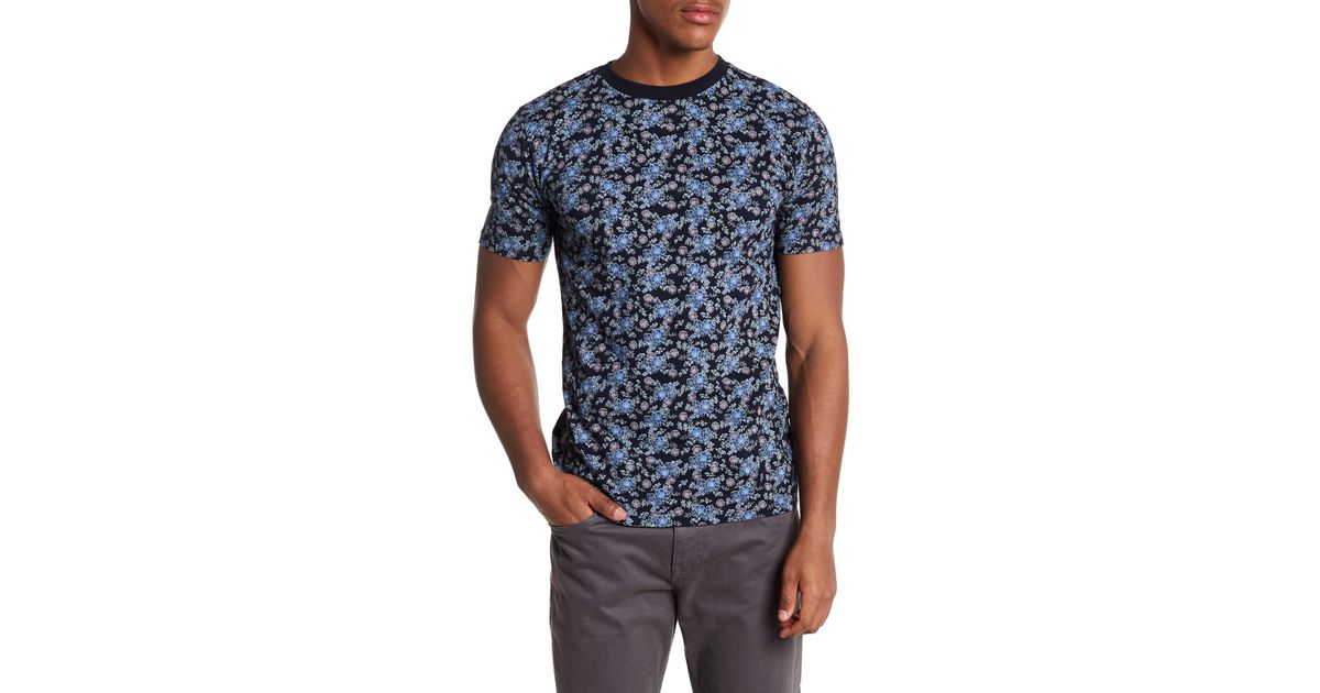 knowledge cotton apparel short sleeve floral print tee in blue for men lyst. Black Bedroom Furniture Sets. Home Design Ideas