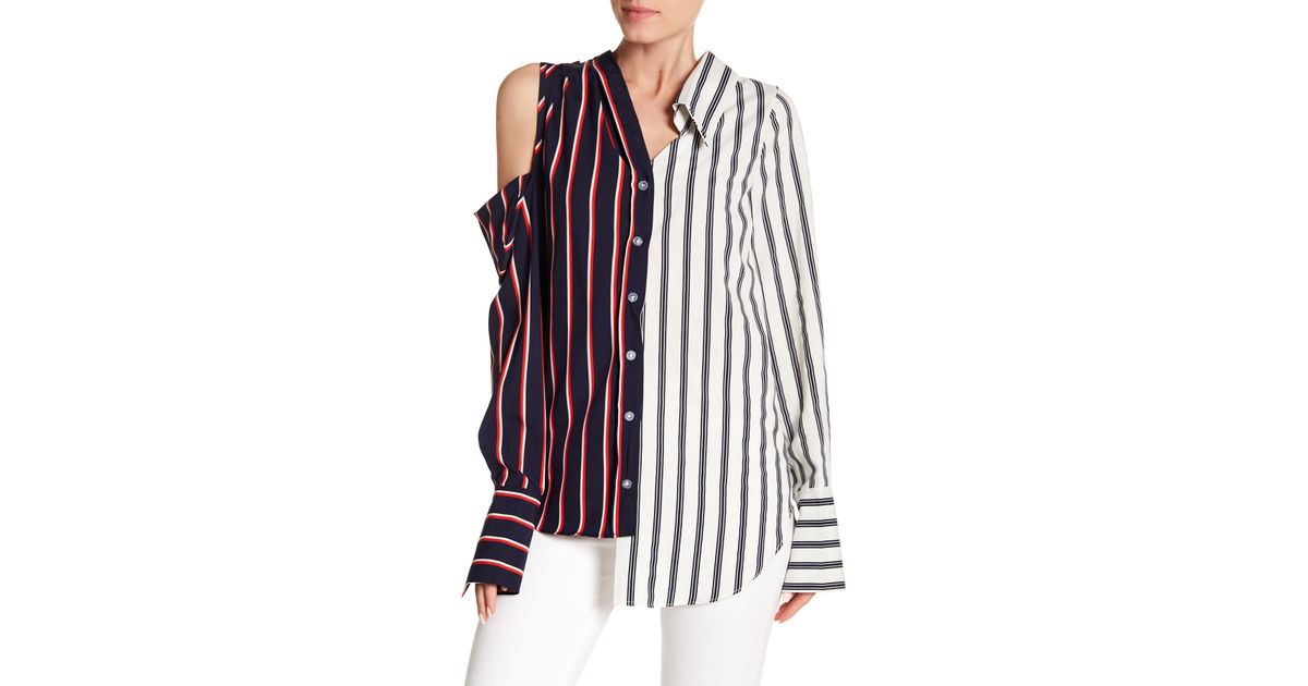 47e0d6ba73b3f6 Lyst - Haute Rogue Asymmetrical Two-tone Striped Cold Shoulder Top in Blue