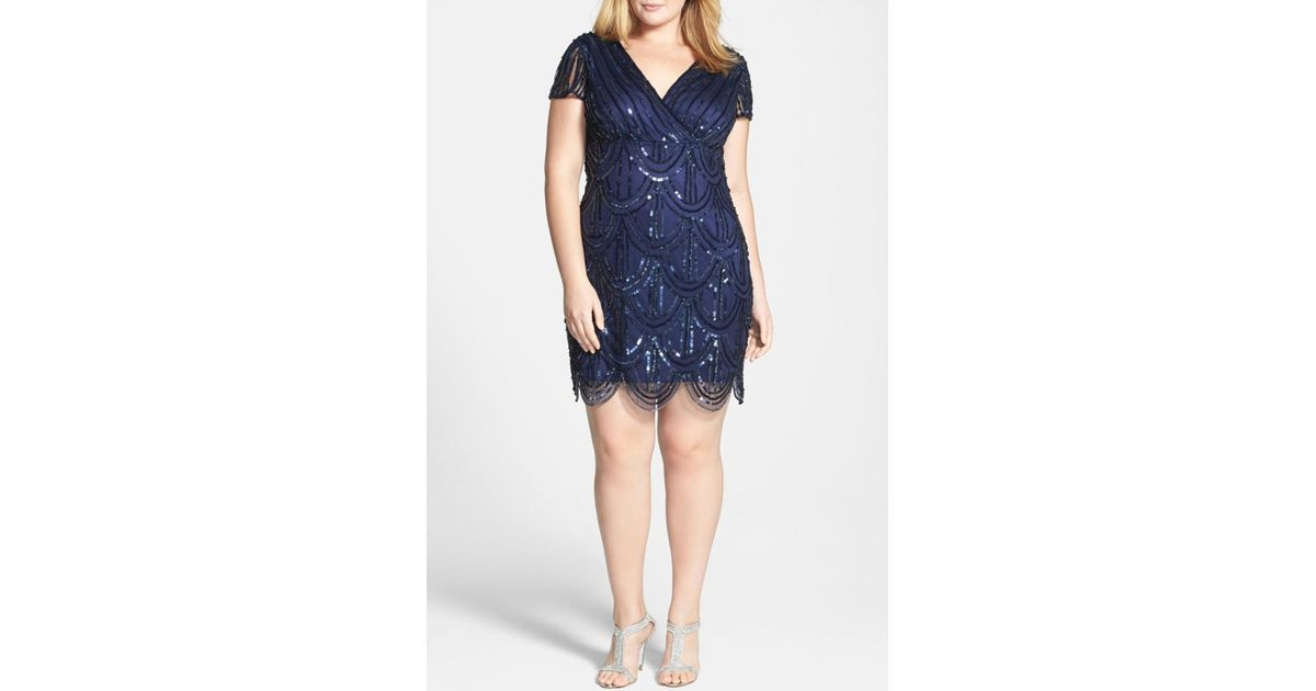 Marina - Blue Beaded Empire Waist Dress (plus Size) - Lyst