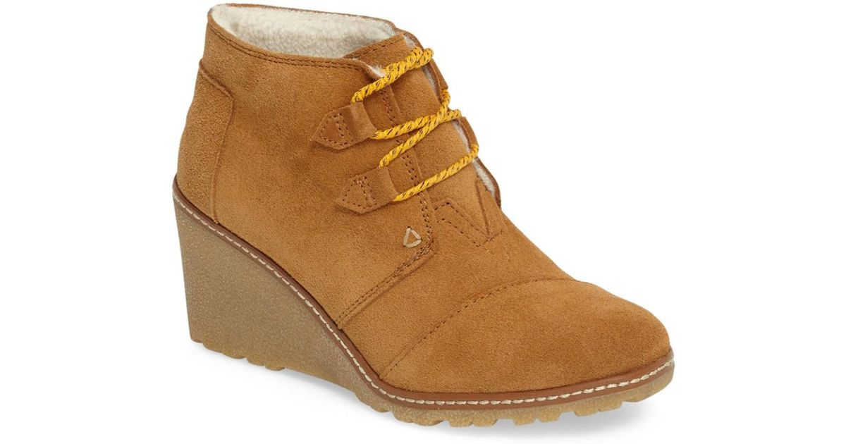 TOMS Desert Faux Fur Lined Wedge Bootie zYlxhp