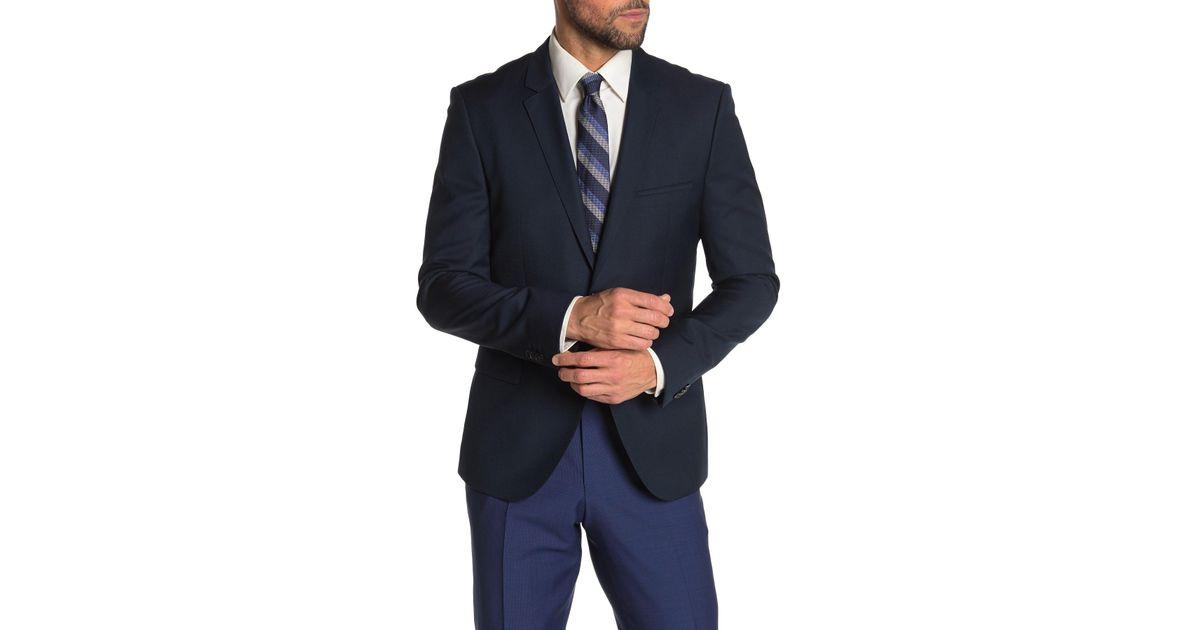 cbe5e38360c Lyst - BOSS Arti Dark Blue Two Button Notch Lapel Virgin Wool Blazer in Blue  for Men