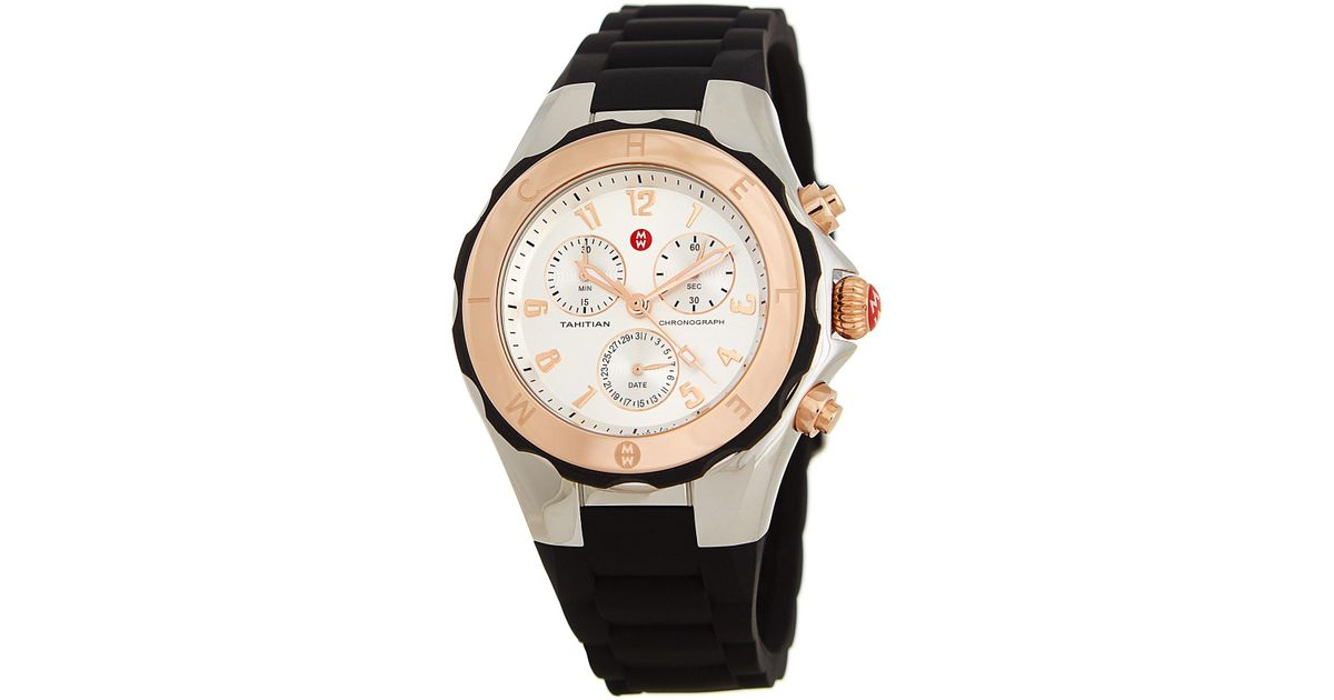 a7c9806d3 Michele Women's Tahitian Jelly Bean Silicone Strap Watch, 40mm in Black -  Lyst