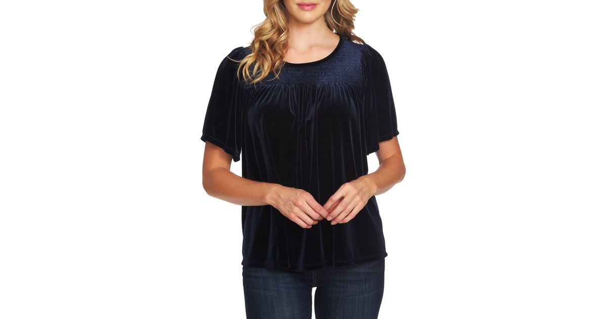 a455617b34d19 Lyst - Cece by Cynthia Steffe Smock Velvet Top (regular   Plus Size) in  Black