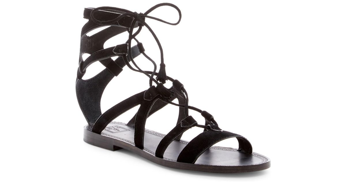 e55a52ac16d3 Lyst - Frye Ruth Gladiator Short Sandal in Black