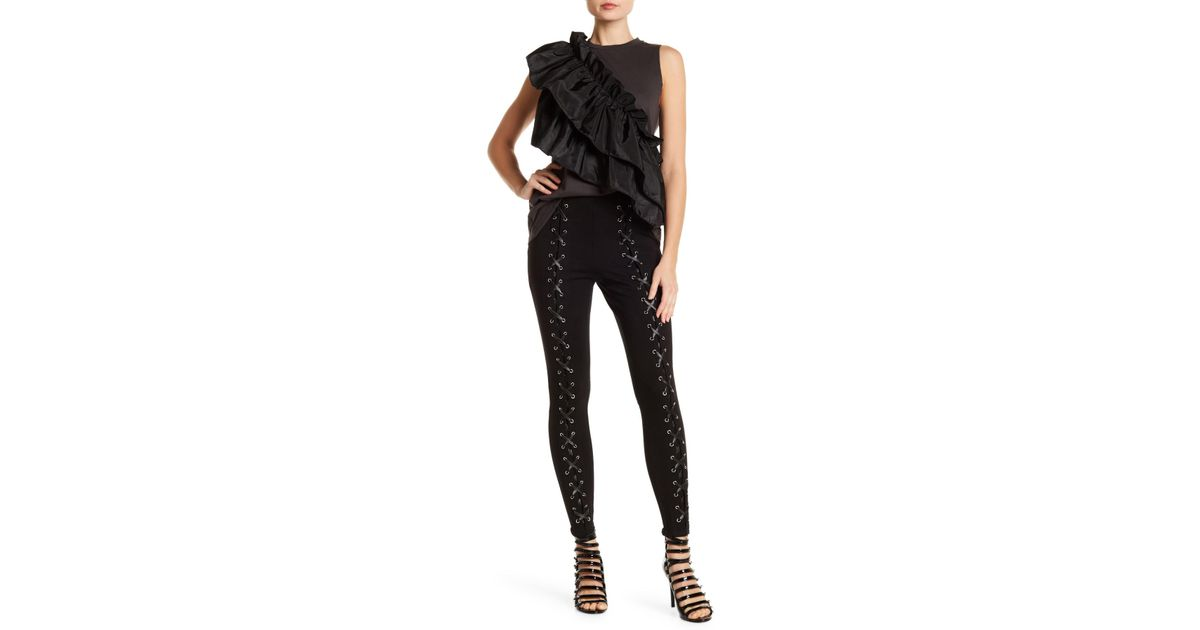 d566dcfa6d1ccc Lyst - Romeo and Juliet Couture Faux Leather Lace-up Leggings in Black