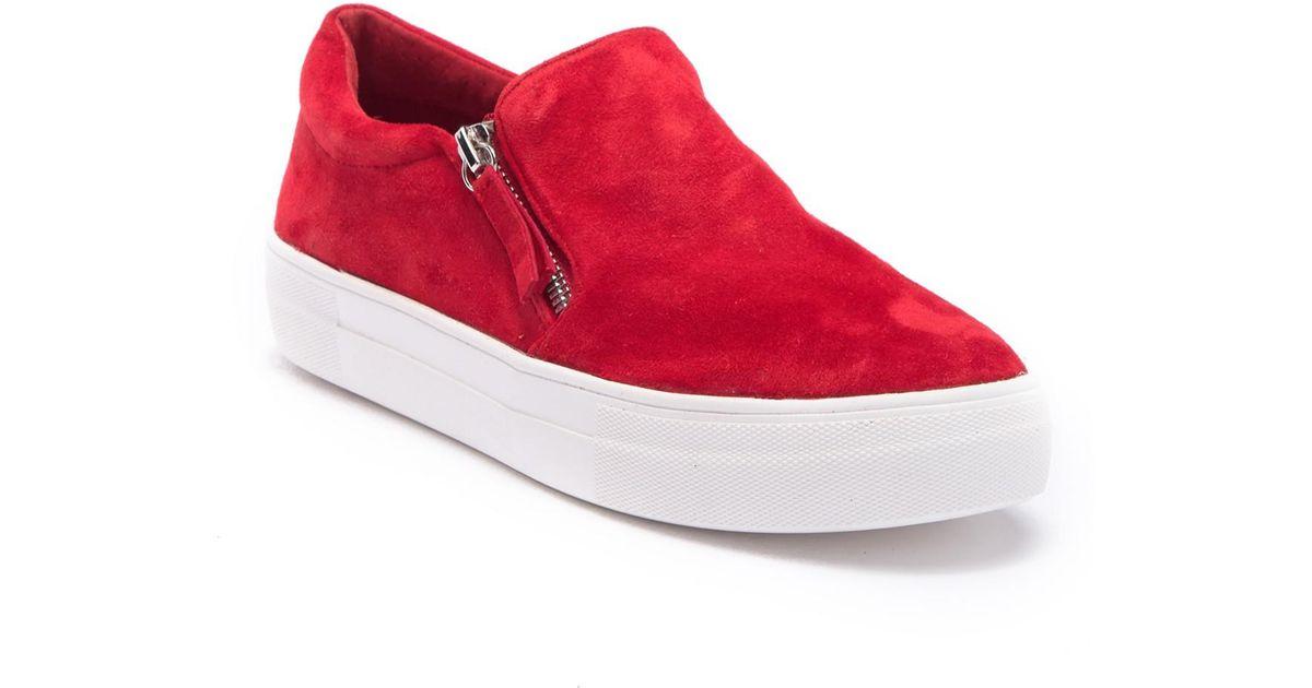 7e9684ae854 Lyst - Steve Madden Glaammar Zip Embossed Sneaker in Red