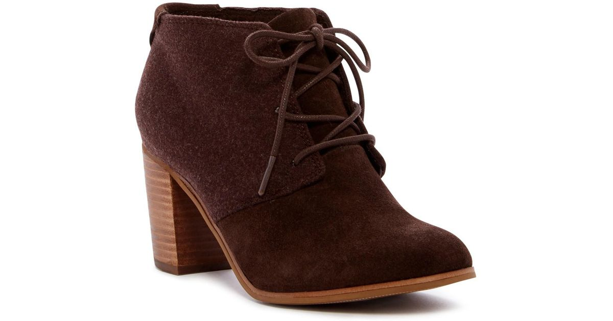 95724f6e79f Lyst - TOMS Lunata Lace-up Suede   Wool Bootie in Brown