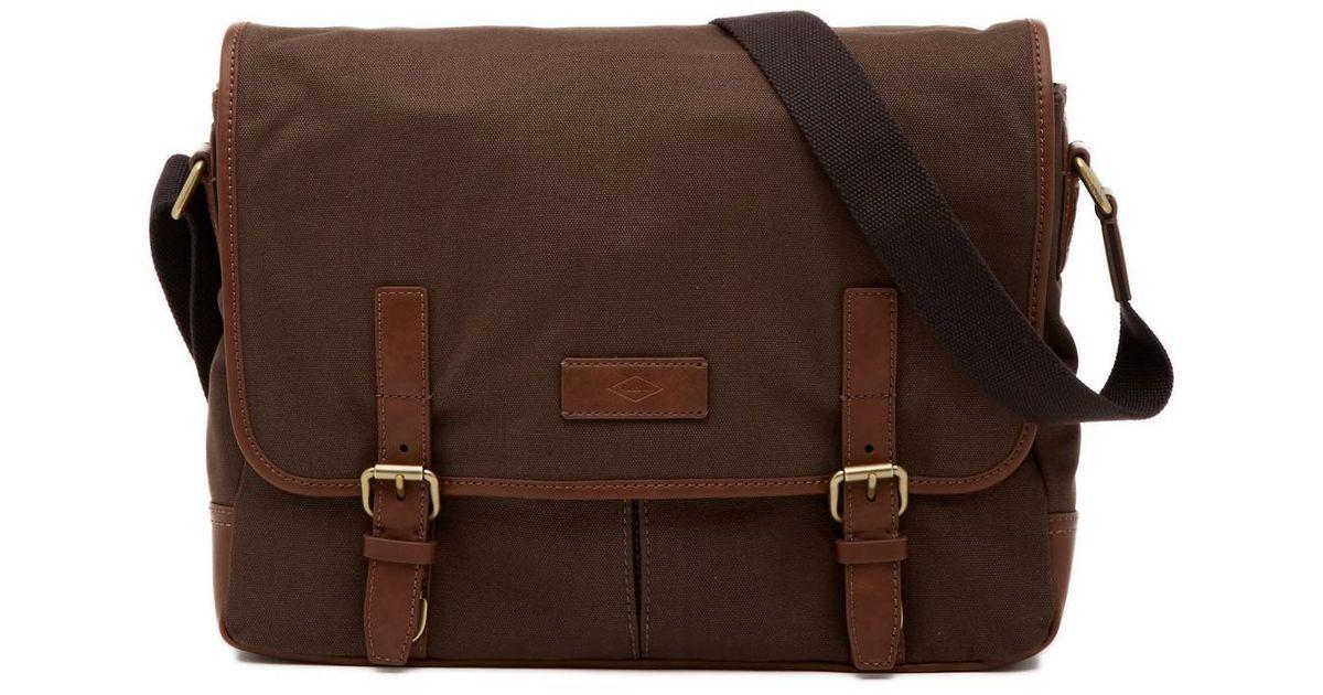 Fossil Brown Graham Ew Messenger Bag For Men