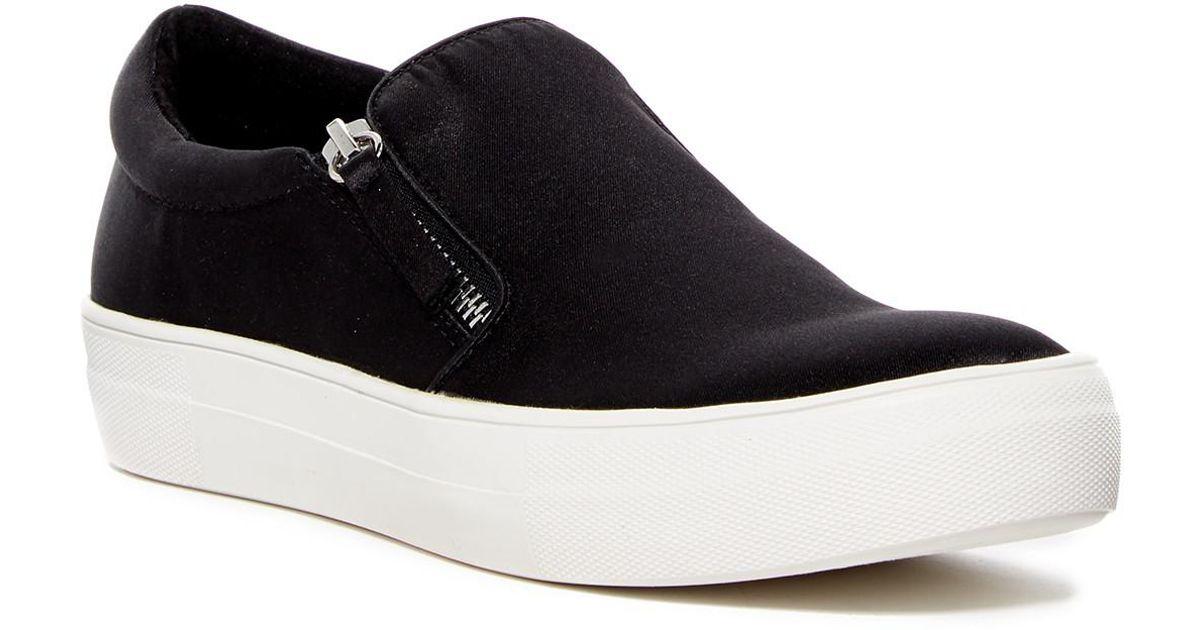 3d985901baf Lyst - Steve Madden Glaammar Zip Embossed Sneaker in Black