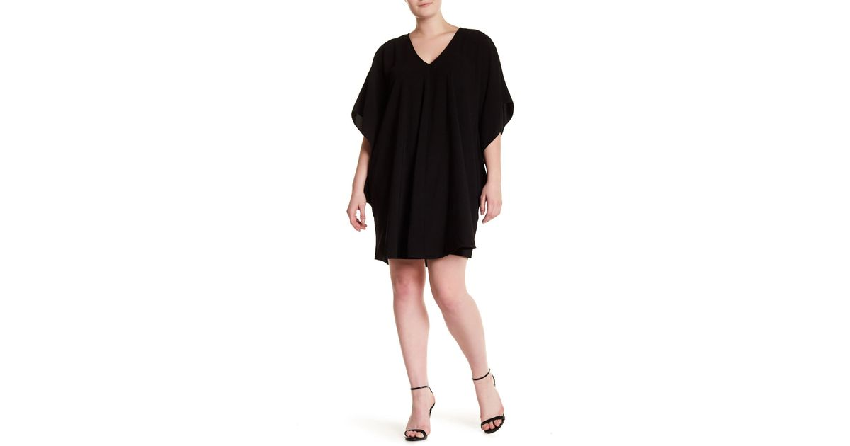 Lyst Sharagano V Neck Blouson Dress Plus Size In Black