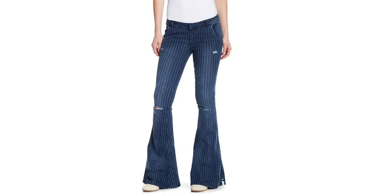cost charm in stock well known One Teaspoon - Blue Park Lane Pinstripe Flare Jeans - Lyst