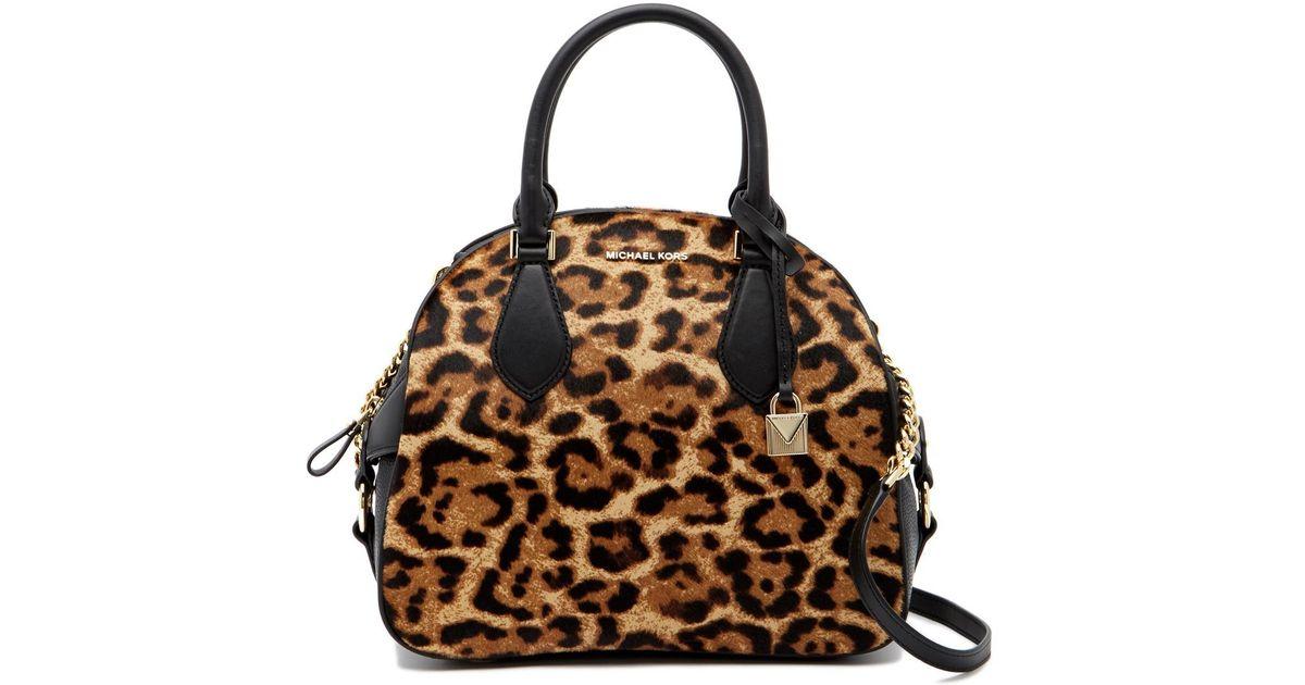 Lyst Michael Kors Briar Large Genuine Calf Hair Bowling Bag In Black