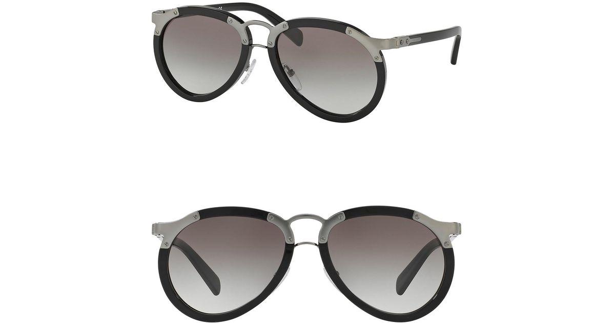 3d355b0f1a1b Prada Catwalk 56mm Pilot Sunglasses in Black for Men - Lyst