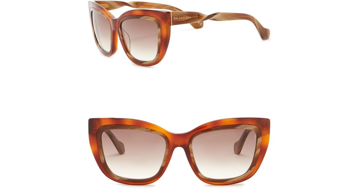 b94f5b13bb0 Lyst - Balenciaga 55mm Squared Cat Eye Sunglasses in Brown