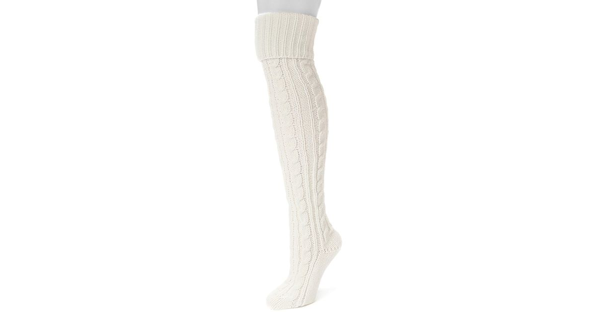 713ffa66de3 Lyst - Muk Luks Cable Knit Over The Knee Sock in White