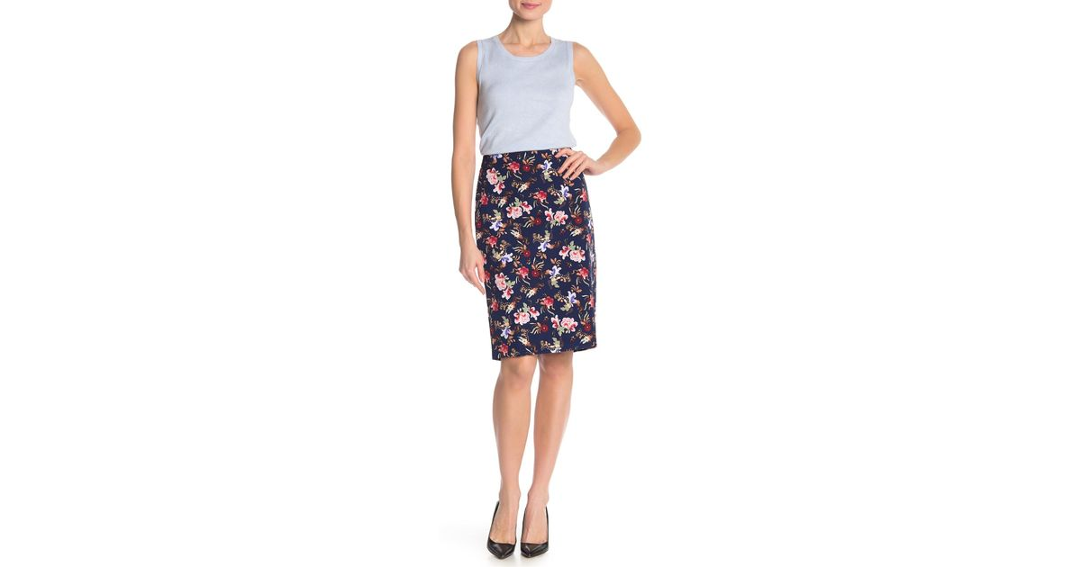 b02baffac Philosophy Apparel Floral Vented Pencil Skirt in Blue - Lyst