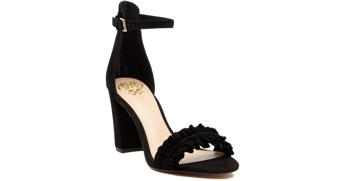 0871efe6e1f Vince Camuto Cralista Ankle Strap Suede Sandal in Black - Lyst