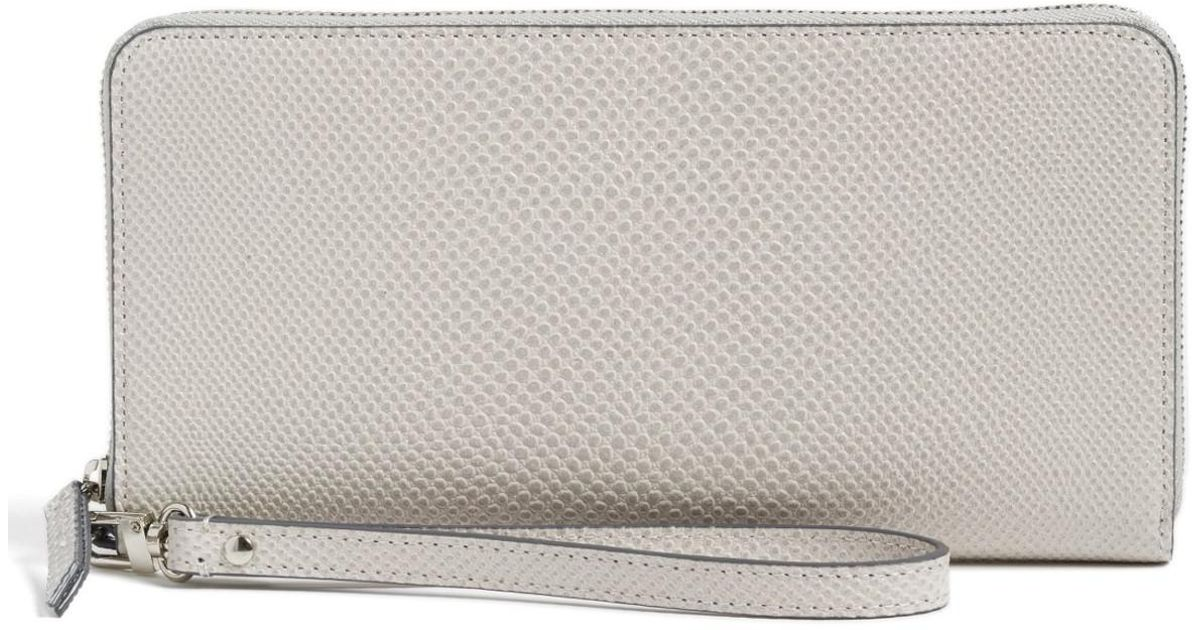 7a69a49c8dfa Lyst - Halogen (r) Leather Zip Around Wallet in Gray