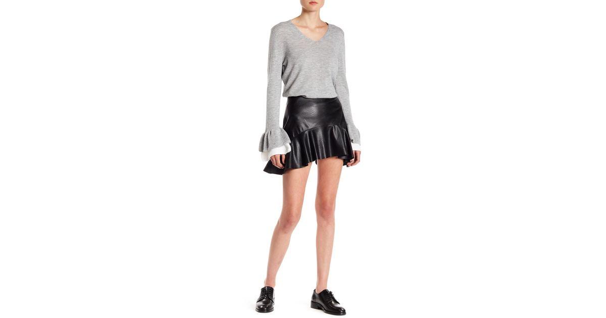 dd9f76f20 Lea & Viola Faux Leather Ruffle Skirt in Black - Lyst