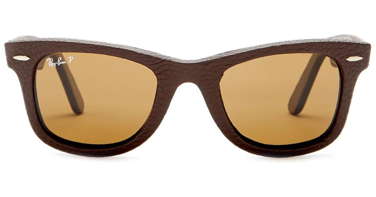 949f6432a27 Lyst - Ray-Ban Men s Icons Craft Wayfarer Leather Polarized Sunglasses in  Brown for Men
