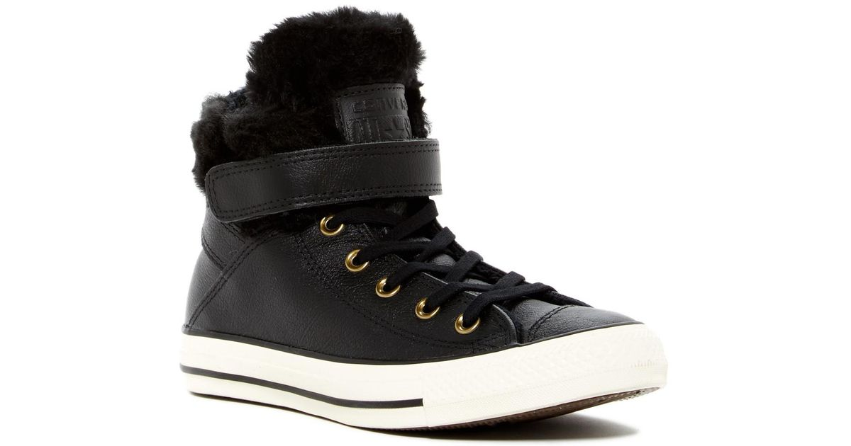4e583ea465e9 Lyst - Converse Chuck Taylor All Star Faux Fur Lined Leather High-top  Sneaker in Black for Men