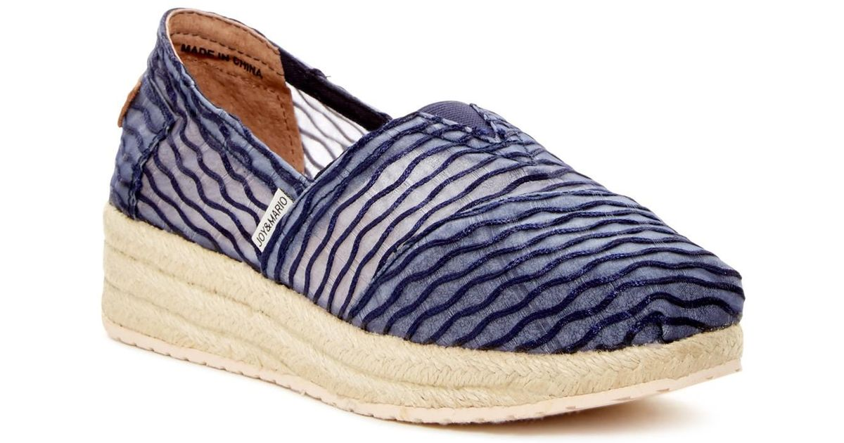 870645b7aad Joy & Mario - Blue Crescent Bay Platform Espadrille Wedge - Lyst