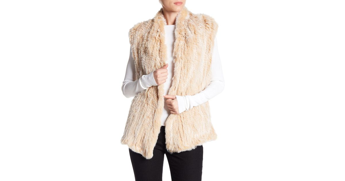 8250d5724 Love Token Genuine Dyed Rabbit Fur High Neck Vest - Lyst