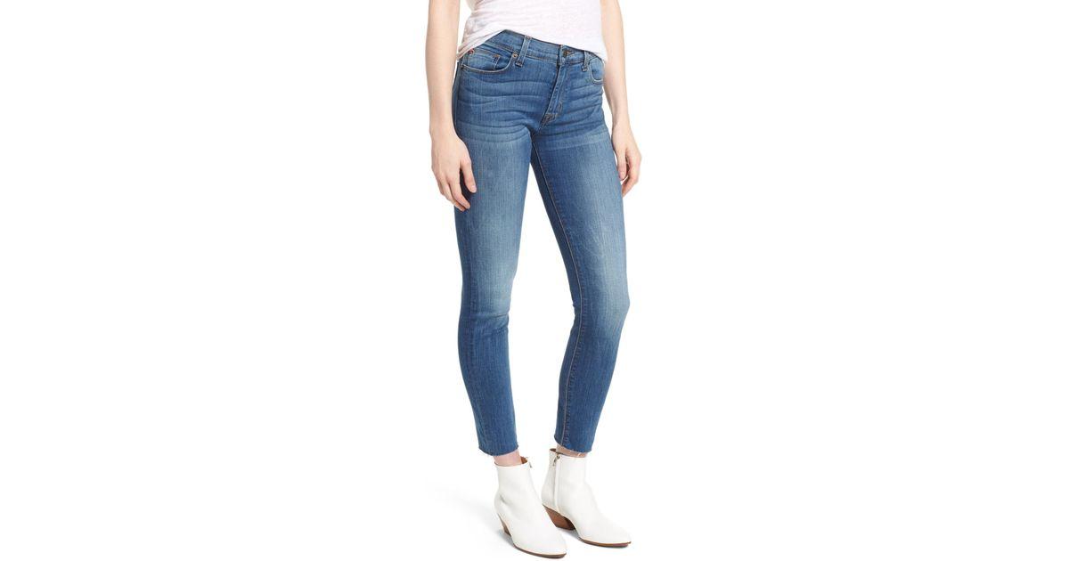 14ec045ec3d Lyst - Hudson Nico Raw Hem Crop Super Skinny Jeans (billow) in Blue