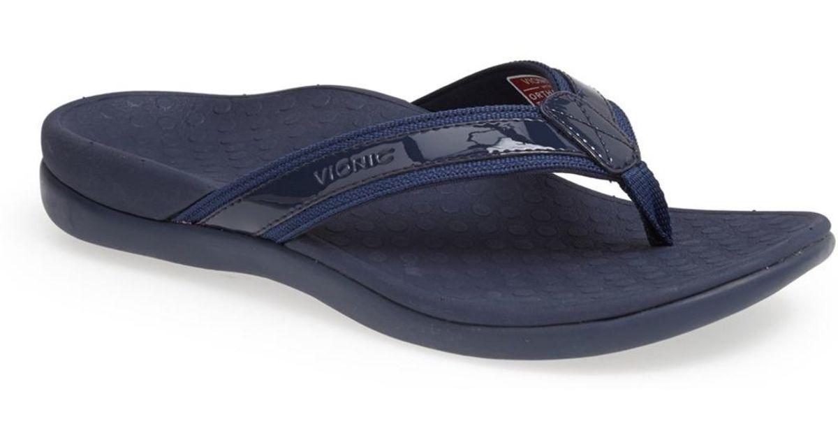 2a47180a559b Lyst - Vionic Tide Ii Orthaheel Flip Flop in Blue