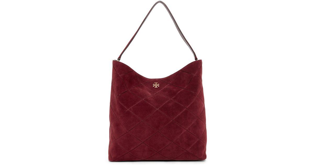 4f8d3fb7430 Lyst - Tory Burch Frida Stitched Suede Hobo Bag