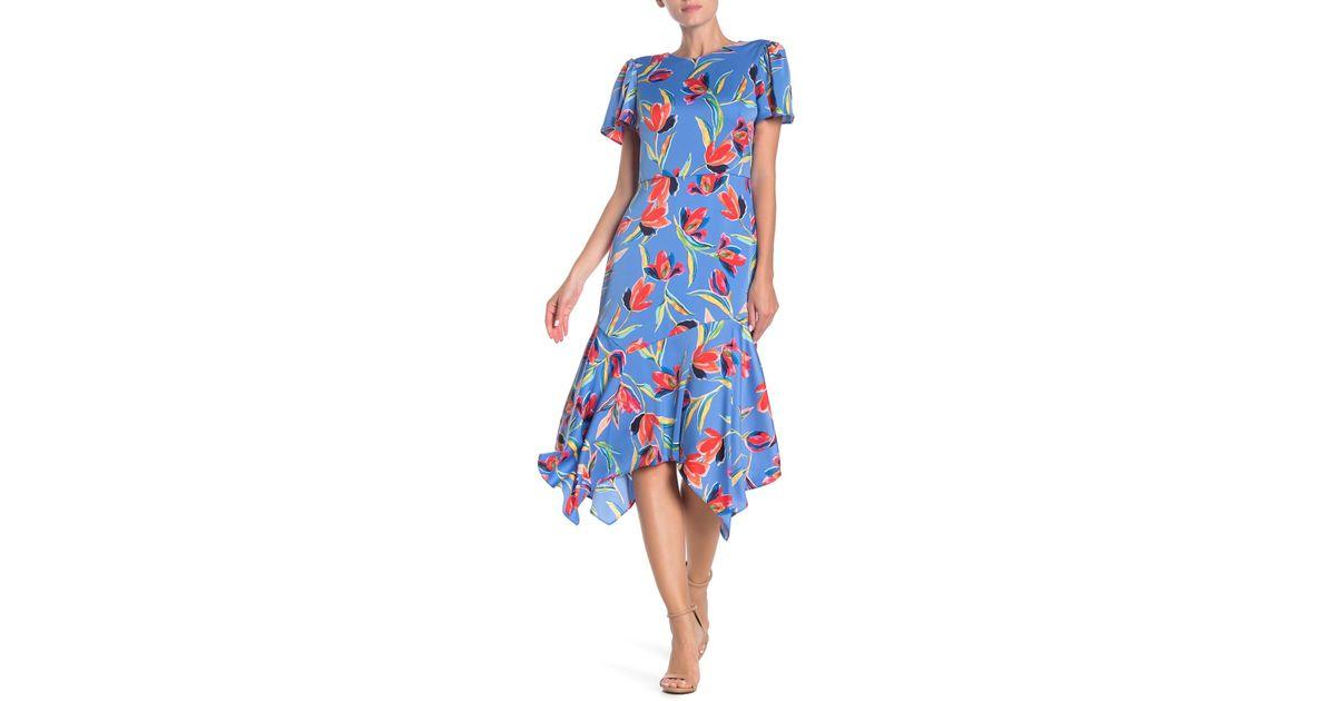 20b082f87 Maggy London - Blue Happy Tulip Hanky Hem Dress - Lyst