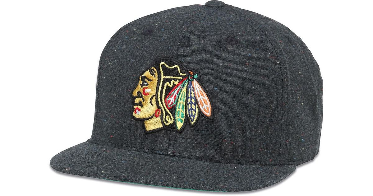 Lyst - American Needle Nhl Chicago Blackhawks Fleck Patterned Flat Brim Baseball  Cap in Black for Men a795493ca21