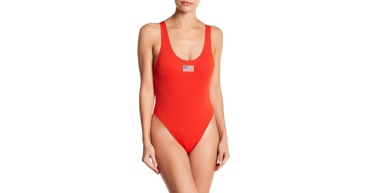 2551f11b788 Kendall + Kylie Usa Low Back One-piece Swimsuit in Red - Lyst