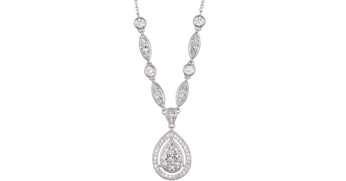 Lyst nadri pave cz raindrop pendant necklace in metallic aloadofball Gallery